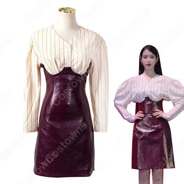 IU(アイユー)風 ストライプシャツ ハーフスカート(ワインレッド) 『ホテルデルーナ(호텔 델루나、Hotel Del Luna)』 コスプレ衣装元の画像