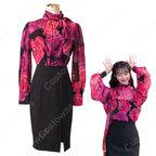 IU(アイユー)風 フローラルプリントブラウス ハーフ(長袖/スカーフ・カラー) スカート(黒)