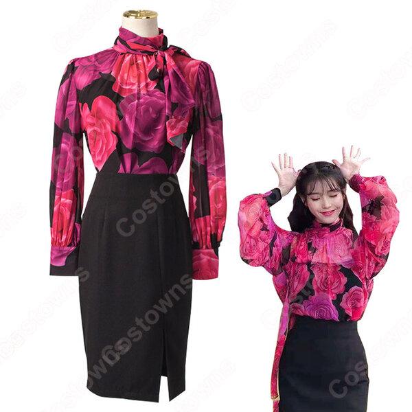 IU(アイユー)風 フローラルプリントブラウス ハーフ(長袖/スカーフ・カラー) スカート(黒)元の画像