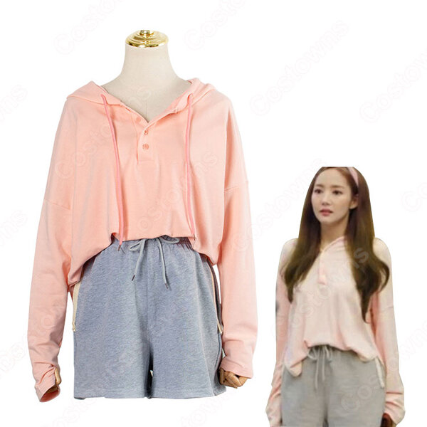 キム・ミソ(パク・ミニョン)風 パーカー(ピンク/桃色系・長袖) ショートパンツ 「キム秘書はいったい、なぜ?」衣装元の画像
