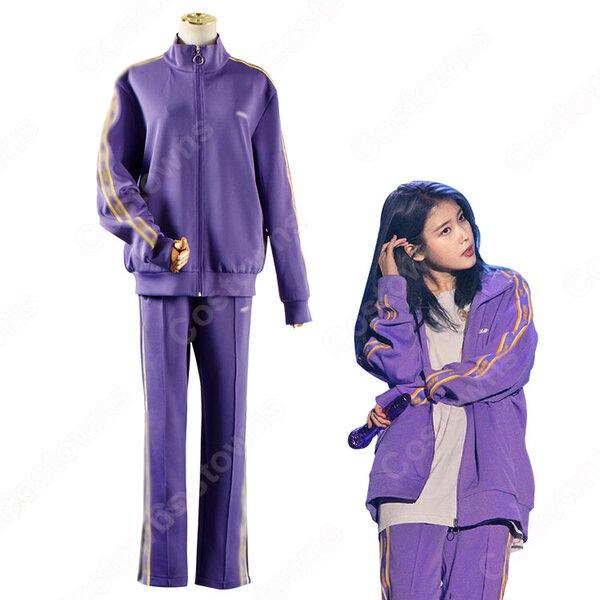 IU(アイユー)風 トラックスーツ上下セット カジュアルパンツ ジャケット(長袖)元の画像
