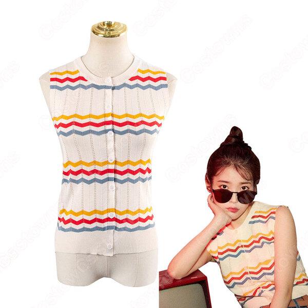 IU(アイユー)風 ストライプシャツ ニット・セーター(カーディガン / ノースリーブ )元の画像