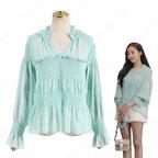 キム・ミソ(パク・ミニョン)風 シフォン シャツ(青/長袖) 「キム秘書はいったい、なぜ?」衣装