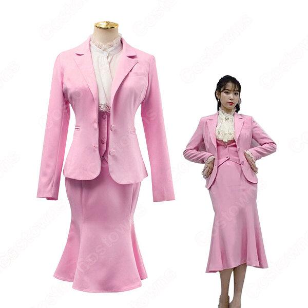 チャン・マンウォル(IU/アイユー)風 スーツ(いピンク / 長袖)ミディスカート 『ホテルデルーナ(호텔 델루나、Hotel Del Luna)』第5話 コスチューム 変装・仮装・コスプレ衣装元の画像