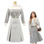 BLACKPINK(ブラックピンク) リサ(LISA) 風 セーター(長袖 / ボーダー柄) ハーフスカート(グレー)