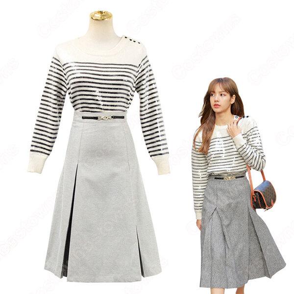BLACKPINK(ブラックピンク) リサ(LISA) 風 セーター(長袖 / ボーダー柄) ハーフスカート(グレー)元の画像