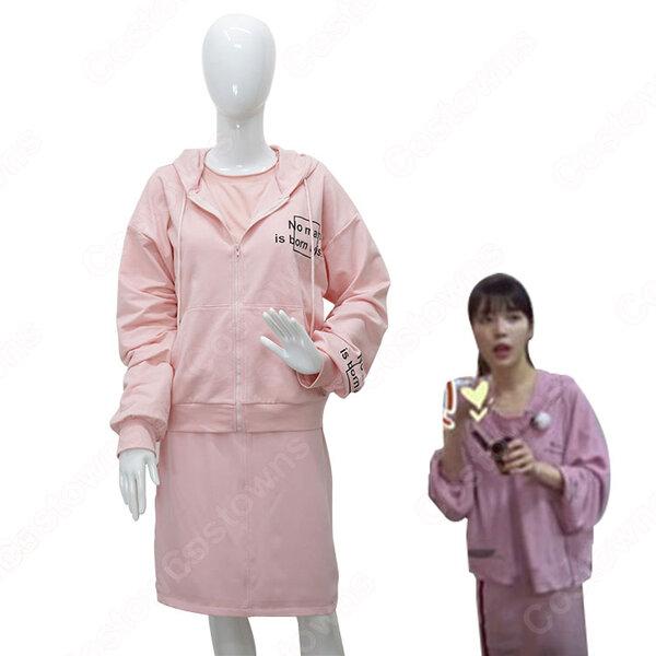 IU(アイユー)風 ピンク ハーフスカート タンクトップ(ノースリーブ)元の画像
