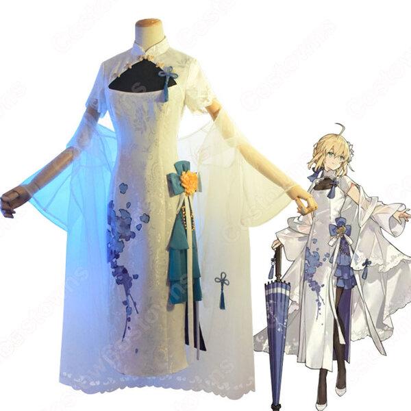 Fate アルトリア・ペンドラゴン(アーサー王) チャイナドレス コスプレ衣装 『Fate/Grand Order』 四周年テーマ賀図 チャイナ風 cosplay 仮装 変装元の画像