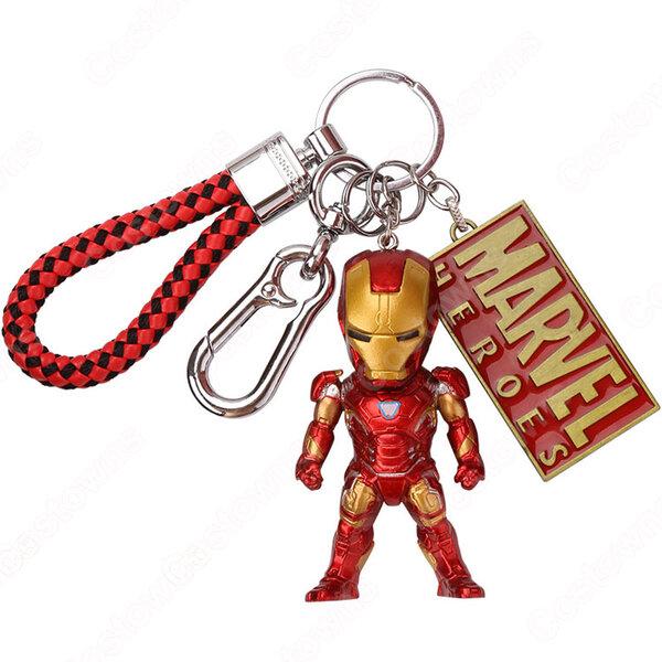 アイアンマン(トニー・スターク) キーチェーン 人形 バックパックペンダントカーキーホルダー屋内ペンダント アベンジャーズ かわいい漫画アニメーションクリエイティブギフト元の画像