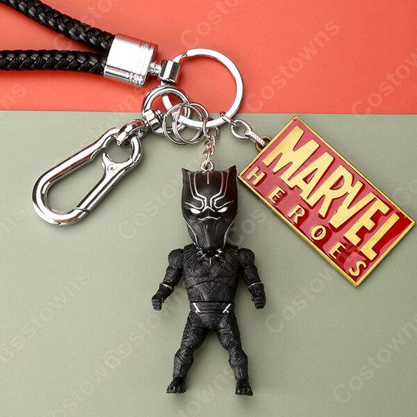 アベンジャーズ キーチェーン 人形 バックパックペンダントカーキーホルダー屋内ペンダントブラックパンサー スパイダーマン アイアンマン Mark1 かわいい漫画アニメーションクリエイティブギフ元の画像