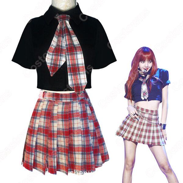 BLACKPINK コスチューム 応援団 衣装 韓国ファッション チアガール 衣装 着痩せ ダンス服 学生制服 普段着 上下セット コスプレ衣装元の画像