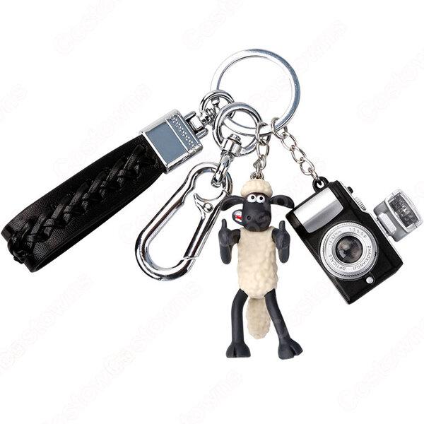 ひつじのショーン キーチェーン 人形 バックパックペンダントカーキーホルダー屋内ペンダントショーン(Shaun) かわいい漫画アニメーションクリエイティブギフト元の画像