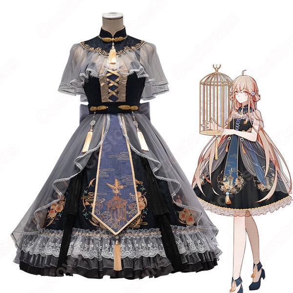中華ロリータ(Lolita) 中華風 スカート チャイナ風ワンピース コスプレ衣装 学園祭 文化祭 日常着元の画像
