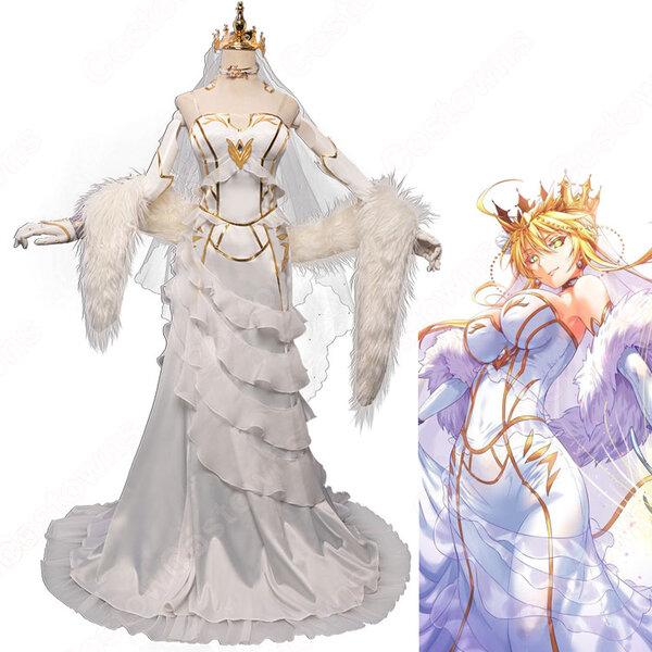 Fate FGO アルトリア・ペンドラゴン 花嫁 ドレス コスプレ衣装 『Fate/Grand Order』(フェイト・グランドオーダー) アーサー王 白スカート cosplay 仮装 変装元の画像