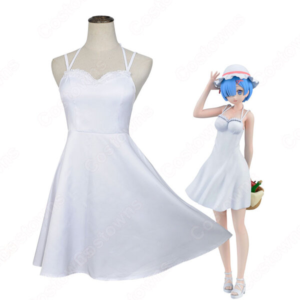 リゼロ ラム レム ワンピース 白 コスプレ衣装『Re:ゼロから始める異世界生活(りぜろからはじめるいせかいせいかつ)』 夏ノースリーブスリップドレス cosplay 仮装 変装元の画像