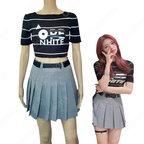 ユナ(YUNA)ジャズダンス衣装 ITZY ステージパフォーマンス同じ衣装 韓国 アイドル 仮装 ステージ 演出服 クロップドトップス プリーツスカート 2 ピースセット 女性用