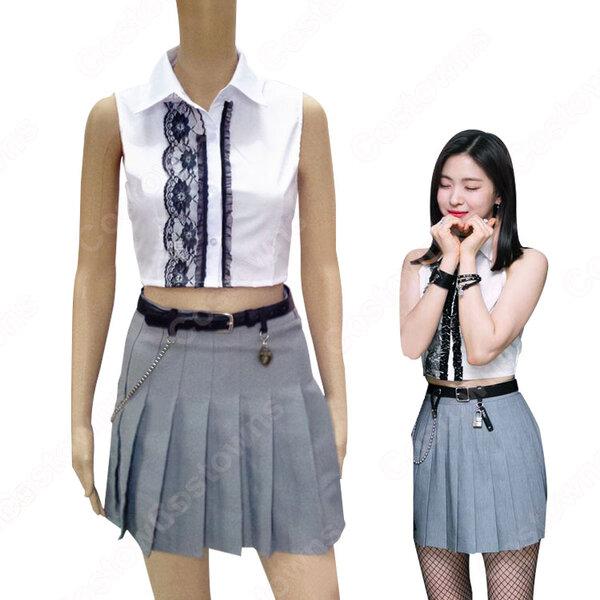 リュジン(RYUJIN)ジャズダンス衣装 ITZY ステージパフォーマンス同じ韓国のファッション 仮装 へそ出し トップス セクシーな プリーツスカート 2 ピースセット 女性用元の画像