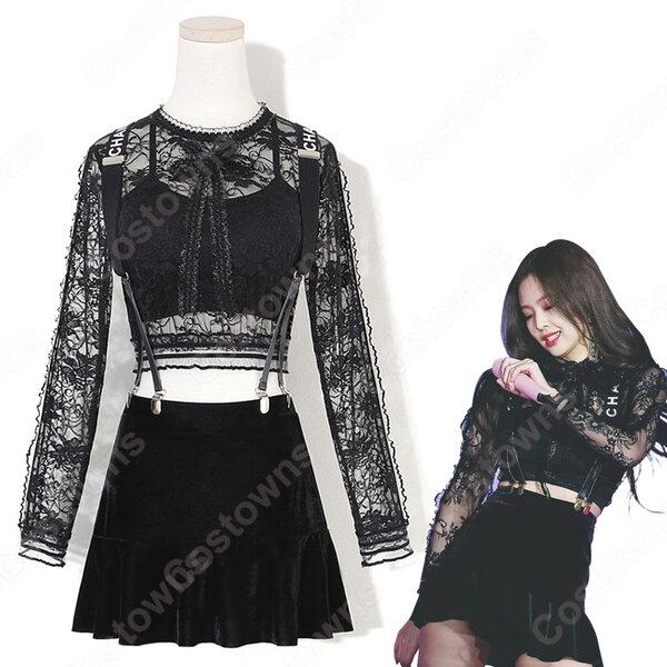 Jennie Kim(キム・ジェニ) ジャズダンス衣装 『BLACKPINK』So Hot ステージ衣装 韓国 アイドル 衣装 レース へそ出し 長袖 サロペットスカート セット セクシーな 社交ダンス 団体服 演出服元の画像