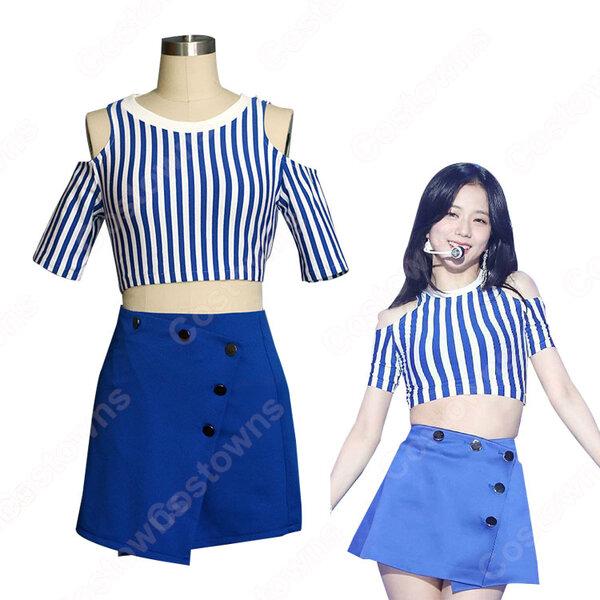 BLACKPINK JISOO ジャズダンス衣装『Forever Young』ジス MVダンス服 変装 韓国 アイドルスタイル衣装 セクシーな ステージ衣装 ジャズ団体服 日常着 へそ出し トップス スカート セット元の画像
