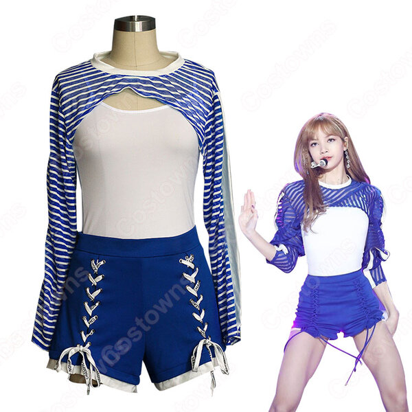 BLACKPINK LISA ジャズダンス衣装『Forever Young』リサ MVダンス服 仮装 アイドルスタイル衣装 韓国ファッション ステージ衣装 K-POP ジャズ団体服 日常着 トップス 半ズボン セット元の画像