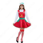 クリスマス衣装 サンタ衣装 メイド服 大人用 コスプレ衣装 サンタ テーマパーティー 衣装 赤いワンピース メイド喫茶店 クリスマス 仮装 コスチューム