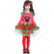 クリスマス衣装 子供 ドット柄 ワンピース サンタクロース コスプレ衣装 サンタドレス 可愛い 萌え テーマパーティー 衣装