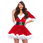 サンタ衣装 サンタクロース コスプレ衣装 レディース セクシー 膝丈 衣装 クリスマス衣装 サンタ テーマパーティー衣装 3点セット(ワンピース、ベルト、パニエ)