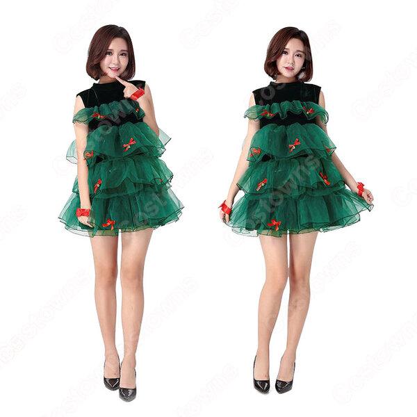 クリスマスドレス クリスマスツリー コスプレ衣装 サンタクロース ワンピース レディース 可愛い 衣装元の画像
