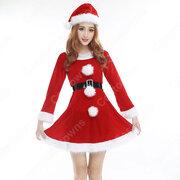 サンタ衣装 レディース クリスマス衣装 長袖 ワンピース サンタ コスプレ クリスマスパーティー衣装