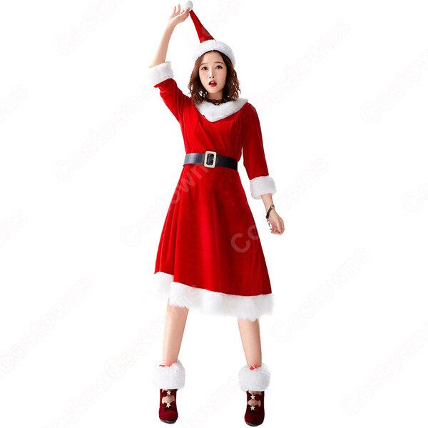 クリスマス衣装 クリスマスパーティー衣装 レディース Vネック 七分袖 ワンピース サンタ コスプレ衣装 コスチューム 大人用 女性用 仮装元の画像
