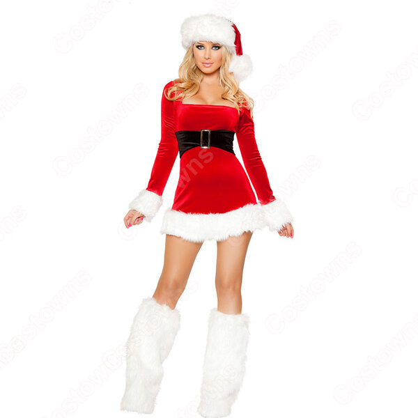 クリスマス衣装 クリスマスパーティー衣装 レディース 長袖 ワンピース 大人用 サンタ コスプレ衣装元の画像
