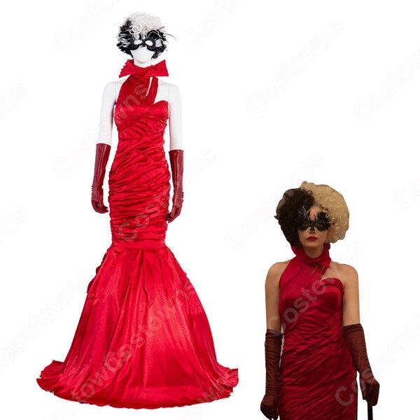 映画 エステラ/クルエラ コスプレ衣装 『クルエラ』『101匹わんちゃん』 悪役クルエラ・ド・ヴィル 赤ワンピース パーティードレス cosplay 仮装 変装元の画像