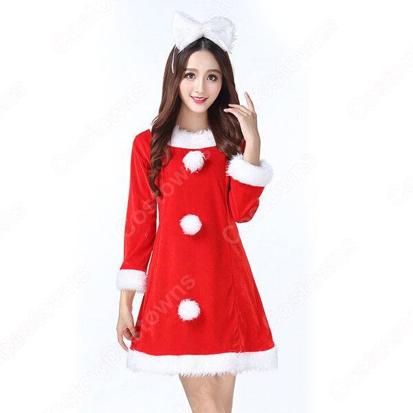 サンタ衣装 クリスマス コスプレ衣装 レディース 長袖 ワンピース 可愛い コスチューム サンタクロース 仮装 変装 大人用元の画像