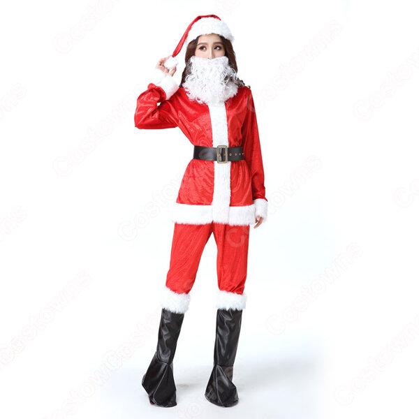 サンタクロース コスプレ衣装 レディース 長袖 上下セット コスチューム サンタクロース 仮装 変装 大人用元の画像